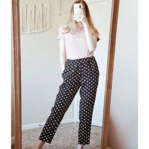 J.CREW Black Tie Waist Star Print High Rise Pants